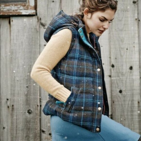 Boden Wool Down Puffy Hooded Vest Medium 8 Blue